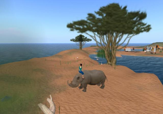 Me on a Rhino in Second Life